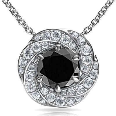 El colgante Spinner con 1 quilate diamante centro negro