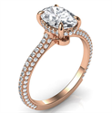 Picture of Rose gold all shapes diamond encrusted secret halo Engagement ring