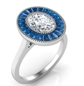 Picture of Natural Sapphires Oval halo engagement ring