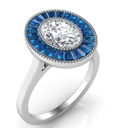 Zafiros naturales oval anillo de compromiso de halo