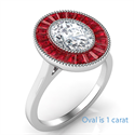 Picture of Natural Rubies, Oval halo engagement ring
