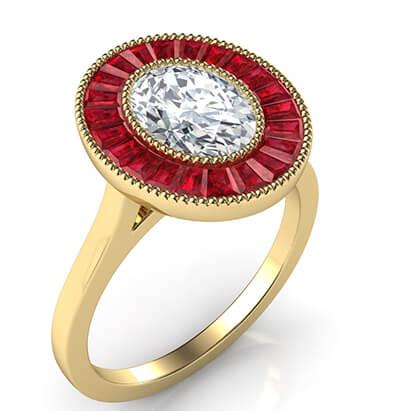 Rubíes naturales, anillo de compromiso de halo ovalado