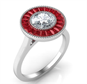Picture of Natural Rubies,halo engagement ring