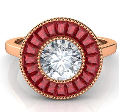 Rubíes naturales, anillo de compromiso de halo.