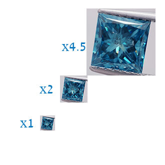 Picture of 1.27 Carats, Princess Diamond with Ideal Cut,Ocean Blue Color enhanced, SI3 Clarity NOT enhanced, Certified By IGL