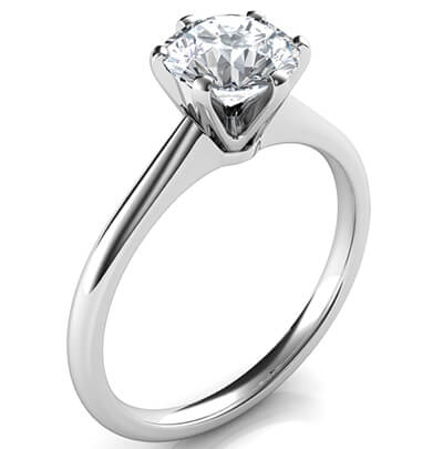 Delicate 6 prongs Novo solitaire engagement ring, Barbara