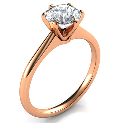 Rose Gold delicate 6 prongs Novo solitaire engagement ring,Lisa