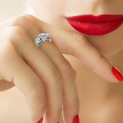 Three stone diamonds Halo engagement ring, 3/4 carat side diamonds