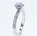 Picture of Pave set side diamonds Novo engagement ring