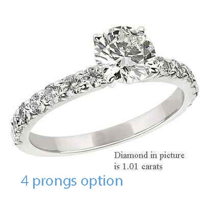 Engagement ring side set with round diamonds