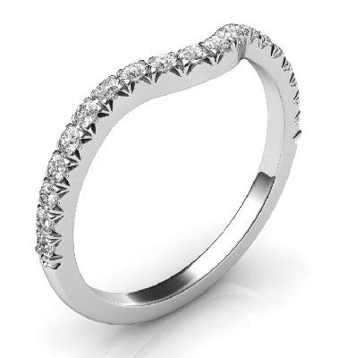 Alianza de boda a juego para todos los delicados anillos de compromiso de halo.