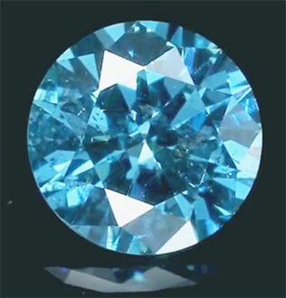 Picture of 1.03 carats, Round natural Diamond with Ideal Cut,Sky Blue color, SI2 clarity, certified by CGL