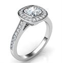 Foto Bisel cojín de bajo perfil con halo de diamantes Diamantes laterales de 1/3 quilates de