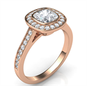 Picture of Rose Gold low profile bezel with halo engagement ring for all shapes and carats, 1/3 carat sides