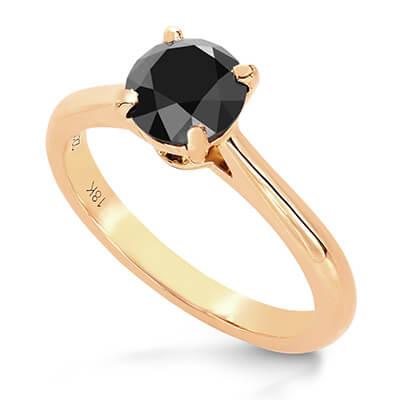 Anillo de compromiso solitario con diamante negro de 1 quilate
