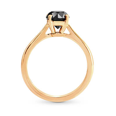 Solitaire engagement ring with 1 carat black diamond