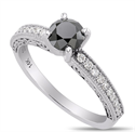 Foto Black natural diamond engagement ring with 1 carat black diamond and  side diamonds de