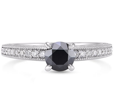 Black natural diamond engagement ring with 1 carat black diamond and  side diamonds