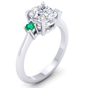 Picture of Engagement ring with two round Natural Green Emeralds 2.5 mm