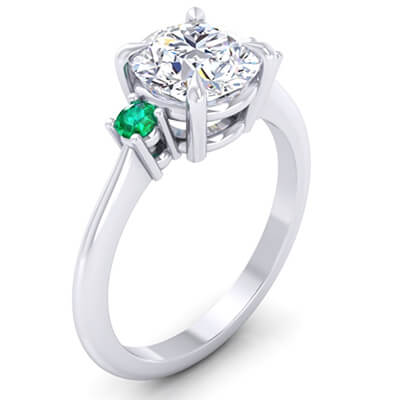 Engagement ring with two round Natural Green Emeralds 2.5 mm