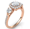 Picture of Rose Gold Rich engagement ring,Price includes two 0.50 side diamonds