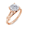 Foto Anillo de compromiso con solitario en oro rosa con motivo de hoja de oro, de