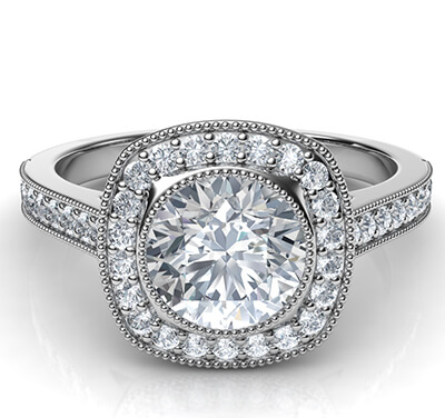 Low profile all shapes bezel with diamonds halo 1/3 carat side diamonds and fully millgrained