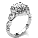 Picture of Vintage halo engagement ring for Rounds & Cushions