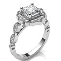 Picture of Vintage style halo engagement ring for Princess