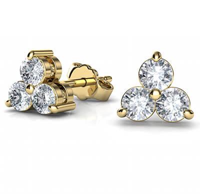 Three common prongs diamond cluster earrings, 0.58 carats