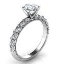 Picture of  Engagement ring with leaves set with diamonds, Vintage style