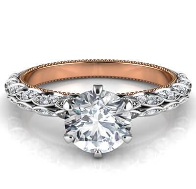 Anillo de compromiso con hojas engastadas con diamantes, estilo vintage