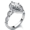 Foto Anillo de compromiso de halo de estilo Art Deco para diamantes Marquesa de