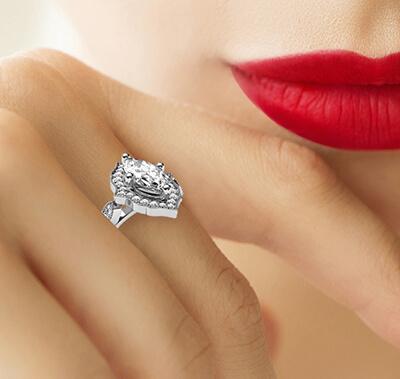 Anillo de compromiso de halo de estilo Art Deco para diamantes Marquesa