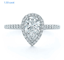Picture of Delicate halo for Pears, 1.5 mm band, 1/3 carat side diamonds Micro-Paved set