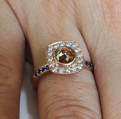One of a kind alternative  engagement ring with Rose cut natural diamond, 1.05 carats