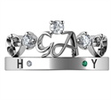 Picture of Initials crown Tiara anniversary band with 0.20 carat sides