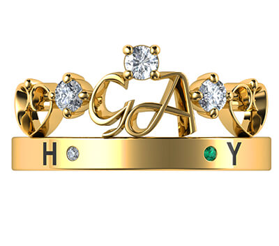 Initials crown Tiara anniversary band with 0.19 carat sides