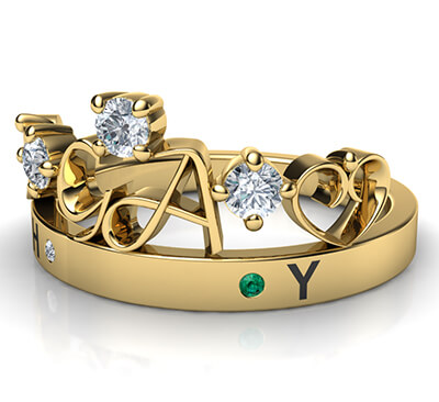 Initials crown Tiara anniversary band with 0.20 carat sides