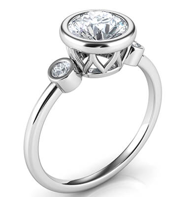 Bezel set Engagement ring with side diamonds, tailored to your chosen diamond