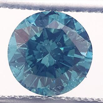 Foto 0.8 quilates, diamante natural redondo, azul océano, SI1 de
