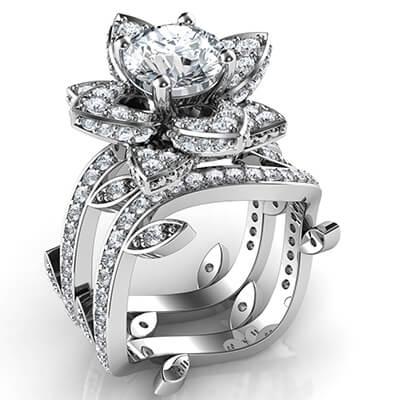 Adorno de hoja Flor de loto conjunto de novia con diamantes laterales 1.09 quilates