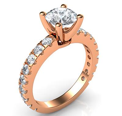 0.85 carat open Pave diamonds engagement ring