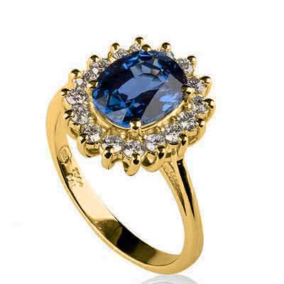 Zafiro azul real de 1.00 a 1.10 quilates, anillo de réplica de la princesa Diana