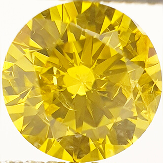 Picture of 0.90 carat, Round diamond, Fancy vivid yellow , color enhanced, SI1 clarity