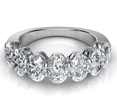 7 natural Oval diamonds  ring, 0.40 carats each