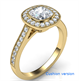 Picture of Low profile all shapes bezel with diamonds halo 1/3 carat side diamonds and fully millgrained
