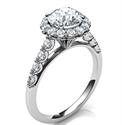 Foto Diseñadores, anillo de compromiso de diamantes laterales con halo de 0.32 quilates vintage de