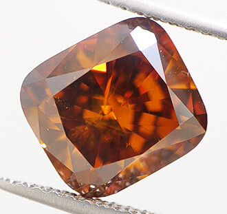 Foto 2.73 Carat, Cushion Diamond with Ideal Cut , Natural fancy, deep Brown-Orange color (GIA), SI1 de