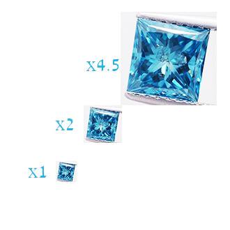 Foto 1.27 quilates, diamante princesa con corte ideal, color azul océano mejorado, claridad SI3 NO mejorada, certificado por IGL de